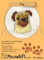 Pug Cross Stitch Kit by Mouse Loft