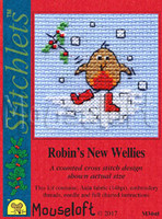 Robin's New Wellies Cross Stitch Kit by Mouse Loft