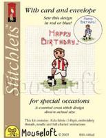 Little Footballer Cross Stitch Kit by Mouse Loft
