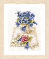 Counted Cross Stitch Kit: Blue Flowers
