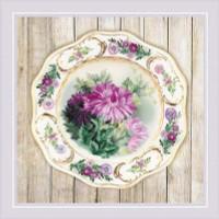 Chrysanthemum Plate Satin Stitch Cross Stitch Kit By Riolis