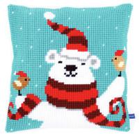 Xmas Bear Chunky Cross Stitch Cushion Kit By Vervaco