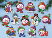 Jolly Snowman Ornaments FELT kits By Design Works
