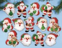 Joyful Santa Ornaments FELT kit By Design Works