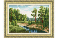 River in the forest Cross Stitch Kit by Golden Fleece