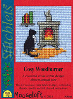 Cosy Wood Burner Cross Stitch Kit by Mouseloft