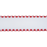 1 Metre of Aida Band Needlecraft Fabric: 1m x 50mm: 16 Count: White-Red Edging