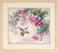 Stamped Cross Stitch: Hummingbird & Fuchsias By Dimensions