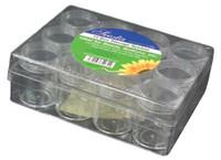 Clear Storage Box with 12 Jars