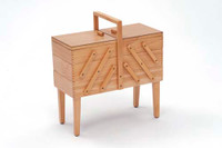 Light Wooden Sewing Box on Legs