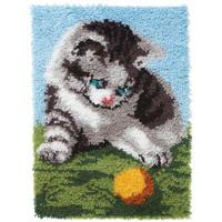 Playful Kitten Latch Hook Rug by Caron