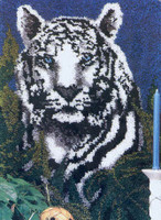 White Tiger Latch Hook Rug Kit