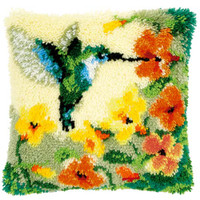 Hummingbird and Flowers Latch Hook Kit by Vervaco