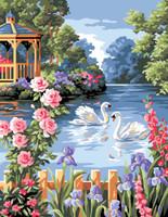 L etang Fleuri Tapestry Canvas