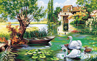 Le Moulin Aux Cygnes Tapestry Canvas