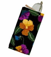 Pansy Garden on Black Tapestry Kit By Cleopatra