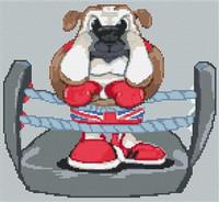 British Bulldog Caricature Cross Stitch Kit