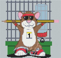 Hamster Weights Caricature Cross Stitch Kit