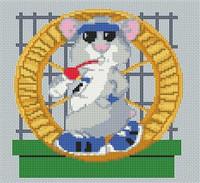 Hamster Wheel Caricature Cross Stitch Kit