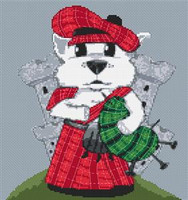 Westie Dog Caricature Cross Stitch Kit
