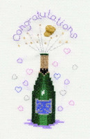 Congratulations Champagne Card Cross Stitch Kit