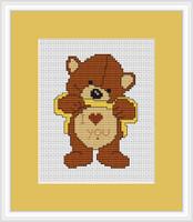 Love You Bear Mini Cross Stitch Kit By Luca S