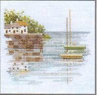 Quayside Cross Stitch Kit On Linen