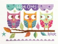 Three Owls Cross Stitch Kit By Stitching Shed