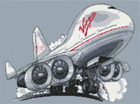 Virgin Boeing 747 Jumbo Jet Cross Stitch Chart
