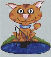 Ginger Tom Cat Caricature Cross Stitch Chart