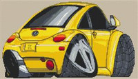 Volkswagen Beetle Caricature New Shape Cross Stitch Chart