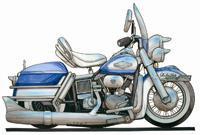 Harley Davidson Electra Glide Caricature Cross Stitch Chart