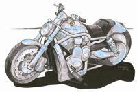 Harley Davidson V Rod Caricature Cross Stitch Chart