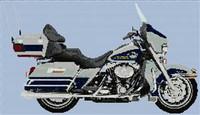 2007 Harley-Davidson Flhtcu Ultra Classic Electra Glide Cross Stitch Chart White With Cobalt Blue