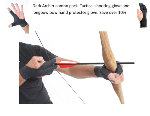 Dark Archer tactical archery glove and arm guard combo set