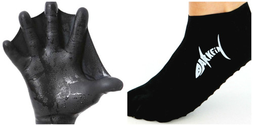 Darkfin webbed power gloves and split-toe bootee combo