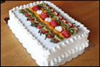 White Sheet Cake With Fruits -1/4 Sheet