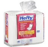"Hefty Hinged Lid Containers 9"" x9"" 100ct"
