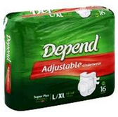 Depend Refastenable Large to XL Pants - 16 Count
