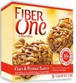 Fiber One Chewy Bars - Oats & Peanut Butter -5 bars