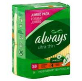 Always Overnight Ultra Thin Pads With Flexwings Jumbo Pack - 38