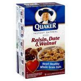 Quaker Hot Cereal Oatmeal Raisin / Date / Walnut -10 pk
