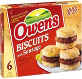 Owen's Biscuit w/Sausage -6ct