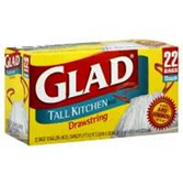 Glad 13 Gallon Tall Kitchen Drawstring Trash Bags - 34 Count