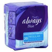 Always Thin Unscented Regular Absorbency Pantiliners - 20 Count
