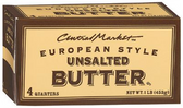 Central Market European Style Unsalted Butter - 1lb