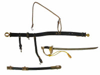 Major General George E Pickett - Sword w/ Scabbard (Metal), Belt & Shoulder Strap w/ Metal Parts