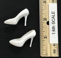 Bodycon Sleeveless Dress Sets - High Heels (White)