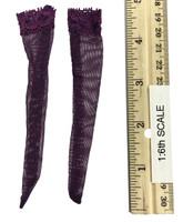 Lace Caped Lingerie Sets - Stockings (Purple)