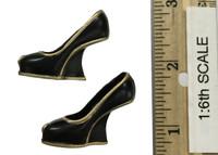 Miss 2B's Lace Cheongsam Set - Wedge High Heels (Black)